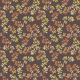 Golden leaves. Watercolor autumn seamless pattern in cute style vector illustration