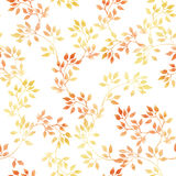 Golden leaves. Watercolour autumn seamless pattern, cute design. Golden leaves. Watercolour autumn seamless pattern in cute design Stock Photo
