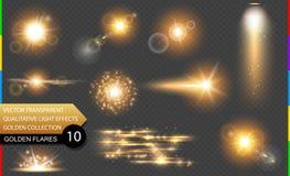 Golden lens flare. Glow transparent vector light effect set. Transparency in additional format only. Explosion, glitter, spark, sun flash, and star burst royalty free illustration