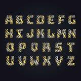 Golden letter alphabeth. Capital upper serif ABC. stock illustration