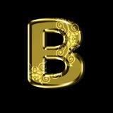 Golden letter B with floral ornament.Isolated on black. Royalty Free Stock Photos