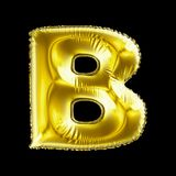 Golden letter B made of inflatable balloon isolated on black background. 3d rendering royalty free illustration