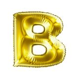 Golden letter B made of inflatable balloon isolated on white background. 3d rendering Royalty Free Stock Photo