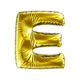 Golden letter E made of inflatable balloon isolated on white background. Stock Image