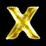 Golden letter X made of inflatable balloon isolated on black background. 3d rendering stock illustration