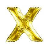 Golden letter X made of inflatable balloon isolated on white background. 3d rendering Stock Photo