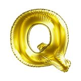 Golden letter Q made of inflatable balloon isolated on white background. 3d rendering Royalty Free Stock Photo