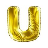 Golden letter U made of inflatable balloon isolated on white background. 3d rendering Royalty Free Stock Photos