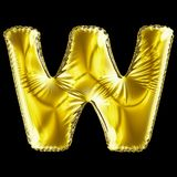 Golden letter W made of inflatable balloon isolated on black background. 3d rendering royalty free illustration