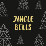 Golden lettering Jingle bells and triangle fir trees on black ba Stock Photo