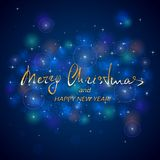 Golden lettering Merry Christmas and Happy New Year on blue back stock illustration