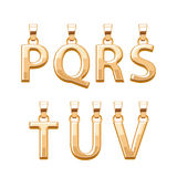 Golden letters abc pendants set. Vector illustration. Stock Photo