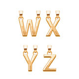 Golden letters abc pendants set. Vector illustration. Stock Images