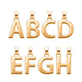 Golden letters abc pendants set. Vector illustration. Royalty Free Stock Image