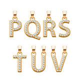 Golden letters with diamonds abc pendants set. Vector illustration. Stock Photo