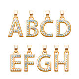 Golden letters with diamonds abc pendants set. Vector illustration. Royalty Free Stock Photo
