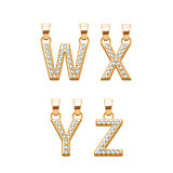 Golden letters with diamonds abc pendants set. Vector illustration. Stock Photography