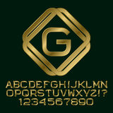 Golden letters and numbers with G initial monogram Royalty Free Stock Photo