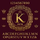 Golden letters and numbers with initial monogram and crowns. Royalty Free Stock Image