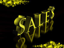 Golden Letters Sales on Black Background Stock Images