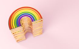 Golden LGBTQ rainbow pile for gay pride, LGBT, bisexual, homosexual symbol concept. Isolated on pastel pink background with copy. Space. 3D render vector illustration