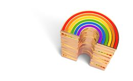 Golden LGBTQ rainbow pile for gay pride, LGBT, bisexual, homosexual symbol concept. Isolated on white background with copy space. 3D render vector illustration