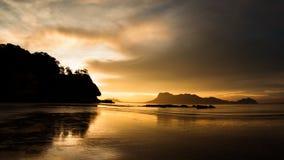 Golden light at beach in Borneo Bako national park Malaysia Stock Images