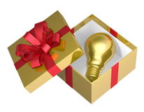 Golden light bulb in golden open gift box with red bow Royalty Free Stock Images