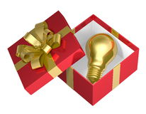 Golden light bulb in red open gift box with golden bow Stock Images