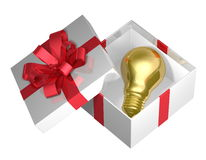 Golden light bulb in white open gift box with red bow Stock Photography