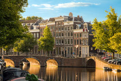 Golden light canals Stock Images