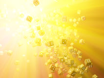 Golden Light Dice Royalty Free Stock Images