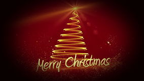 Golden light forming christmas tree design with greeting stock footage
