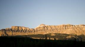 Golden Light On Mountains. In Banff National Park Stock Photos