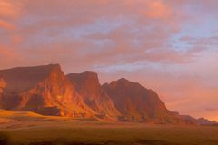 Golden Light on the Peaks Royalty Free Stock Photo