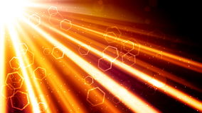 Golden Light Rays and Hexagons Royalty Free Stock Image