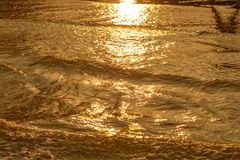 Golden light reflecting off a water wave at the sea and sand on sunset Stock Images
