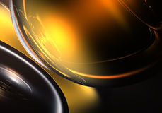Golden light in the rings. A Study of Form&Colors, rendered in Bryce Royalty Free Stock Photo