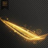 Golden light streak with sparkles transparent effect. Vector Royalty Free Stock Image