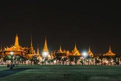 Golden light of Wat Phra Kaew from Sanam Luang Stock Photo