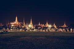 Golden light of Wat Phra Kaew from Sanam Luang Stock Photography