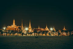 Golden light of Wat Phra Kaew from Sanam Luang Royalty Free Stock Image