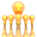 Golden lightbulbs isolated on Stock Photos