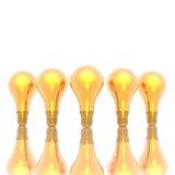 Golden lightbulbs isolated on Royalty Free Stock Photos