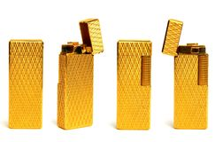 A Golden Lighter in Four Views Royalty Free Stock Photos