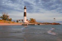 Golden Lighthouse. Big Sable Lighthouse Evening, Ludington, Michigan, USA Royalty Free Stock Photo
