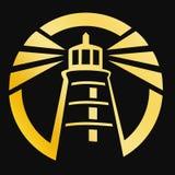 Golden lighthouse Stock Image