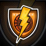Golden lightning with basketball ball in center on shield. Sport logo for any team. Or competition royalty free illustration