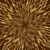 Golden lights. Stylized golden fireworks, light burst with the center in the middle of the square image Stock Image