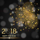 Golden lights abstract on black ambient blurred background. New Year 2018 concept. Luxury design. Vector illustration Stock Image